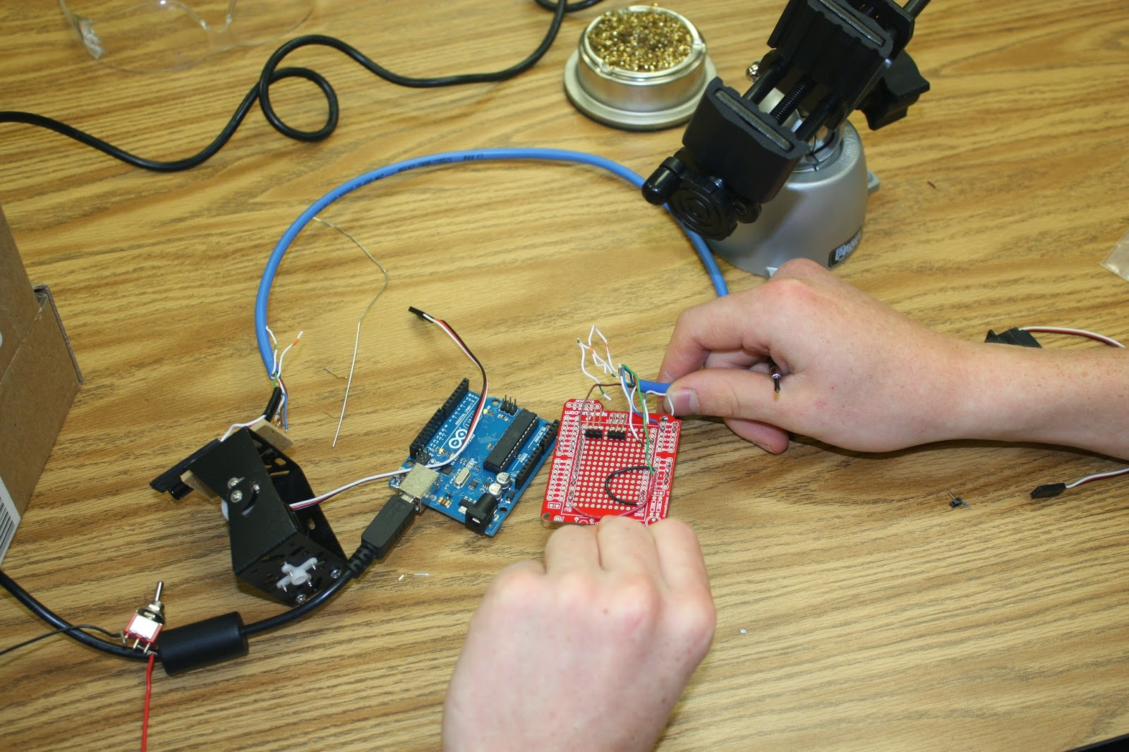 Logan Digital Electronics Unmanned Aerial Vehicle Uav Project Wire Harness Shield Solding Up A Prototype With Our Inputs To The Camera We Are Using Cat5 Cable As Wiring Thermal Sensor Will Be Moved By Two Servo