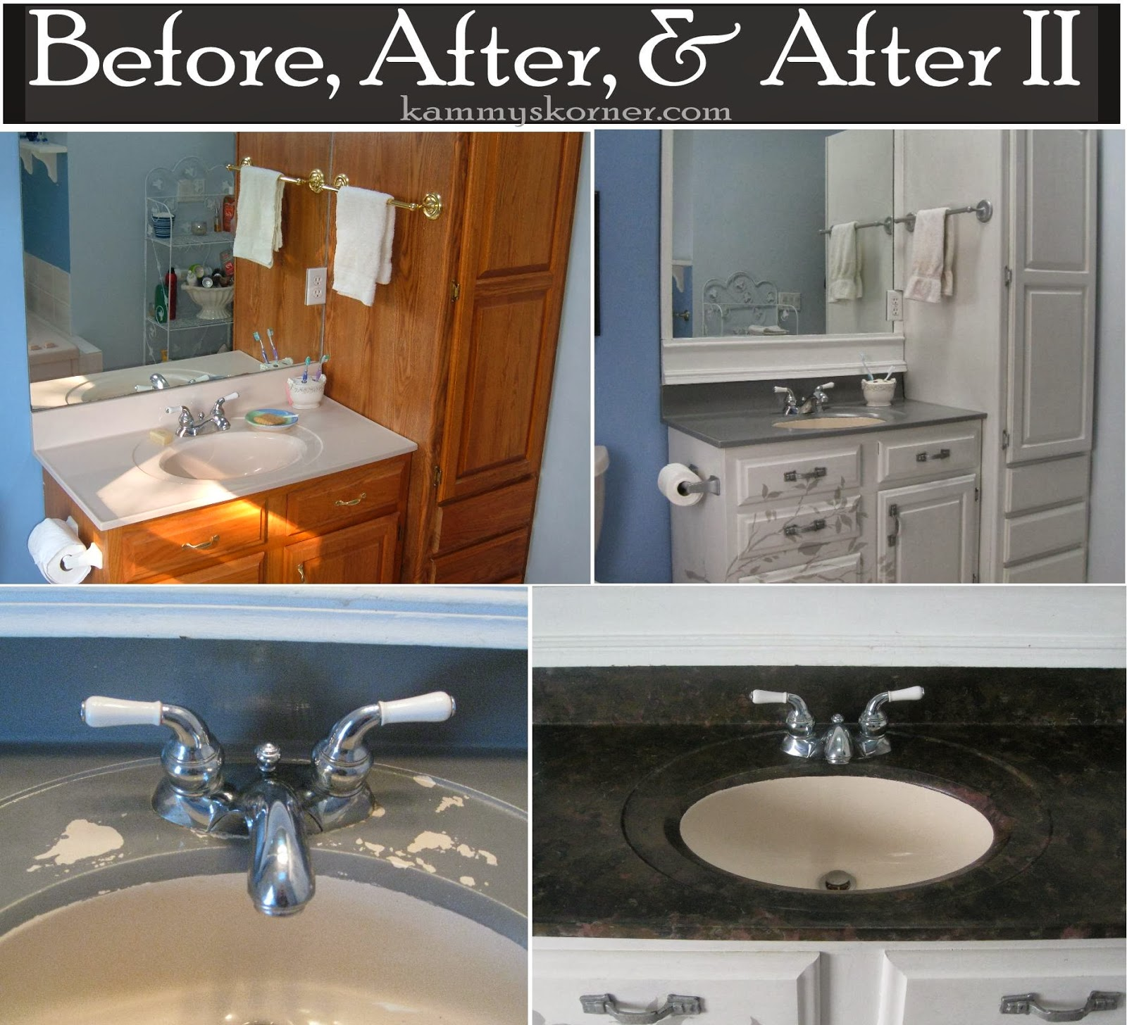 Kammy's Korner: Painting A Porcelain Vanity Countertop {New And Improved}