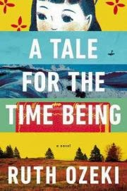 cover art for A Tale For the Time Being, featuring the title spread across five horizontal illustrations in tones of yellow, turquoise, blue, and red.