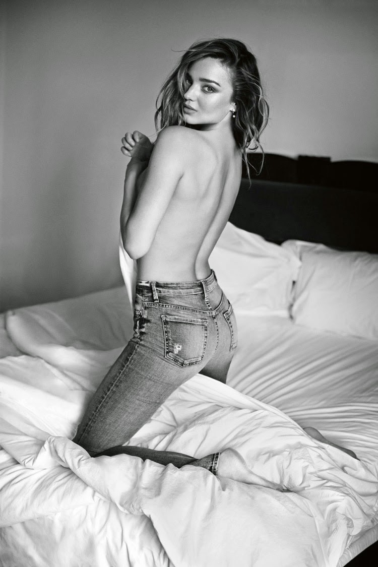 Miranda Kerr bares her back for the 7 For All Mankind Fall/Winter 2014 Campaign