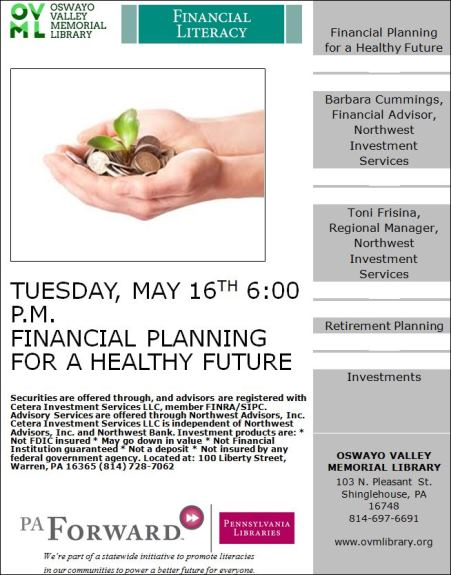 5-16 Financial Planning Presentation at Oswayo Valley Memorial Library