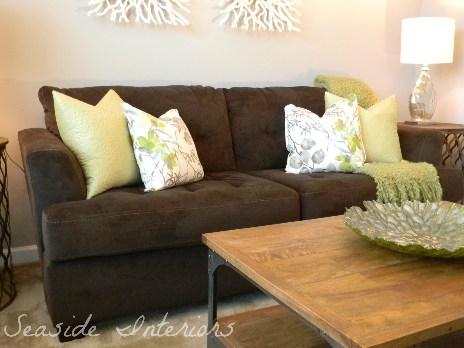 Seaside Interiors Contemporary Living Room Reveal Start To Finish . Brown  Sofa Pillows ...