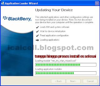 Proses Install OS Blackberry Sedang Berlangsung