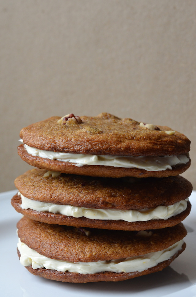 Banana Bread Cookie Sandwiches with Honey Cream Cheese