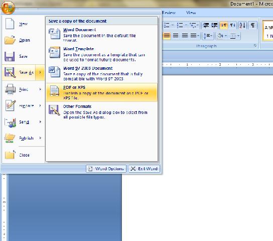 PDF, Save, XPS