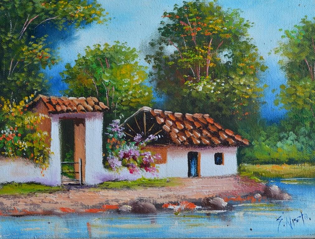 Pintura moderna y fotograf a art stica paisajes tipicos - Paisajes de casas ...