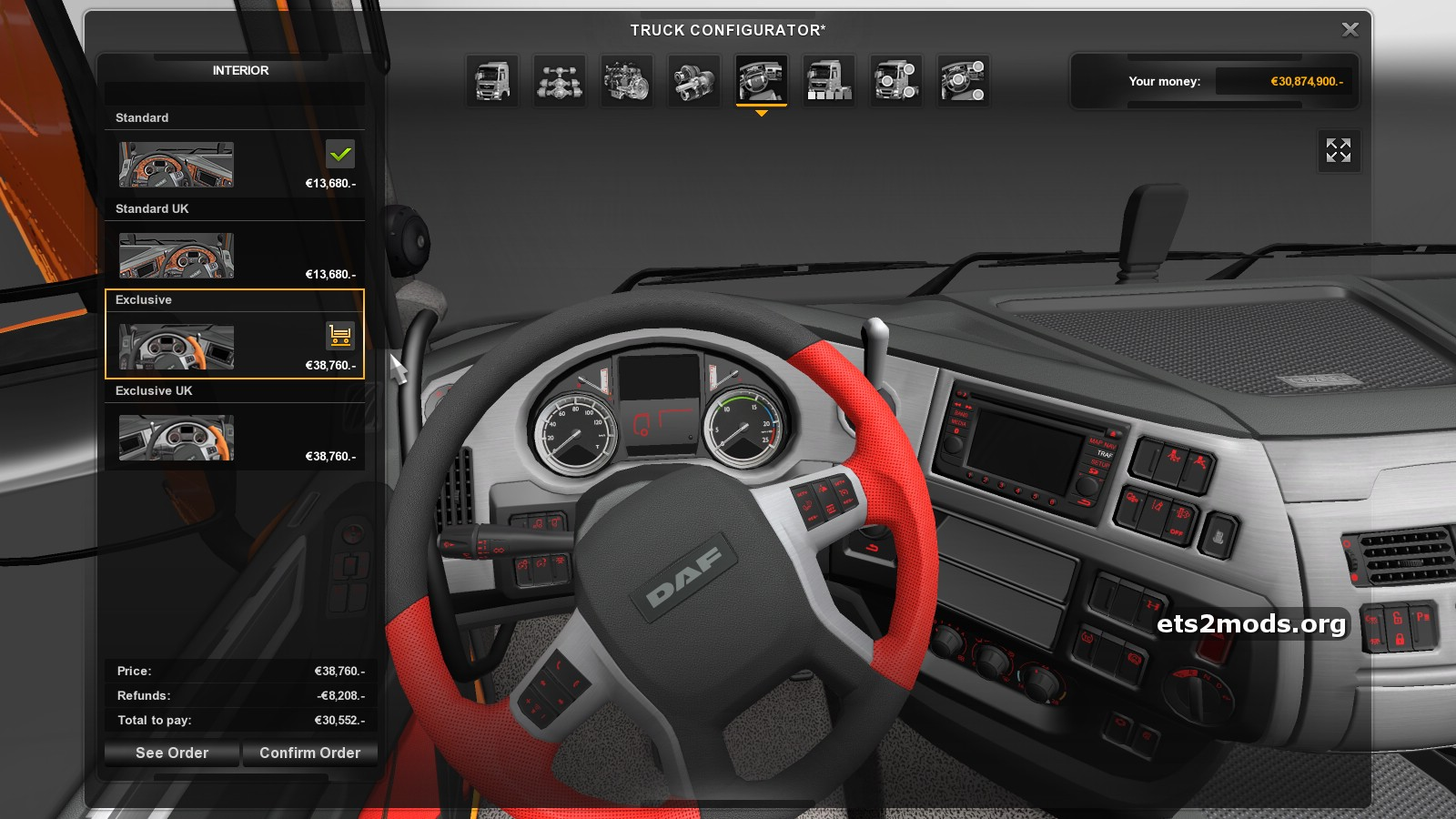 Daf euro 6 red interior mod by nfcristian ets2 mods for Daf euro 6 interieur