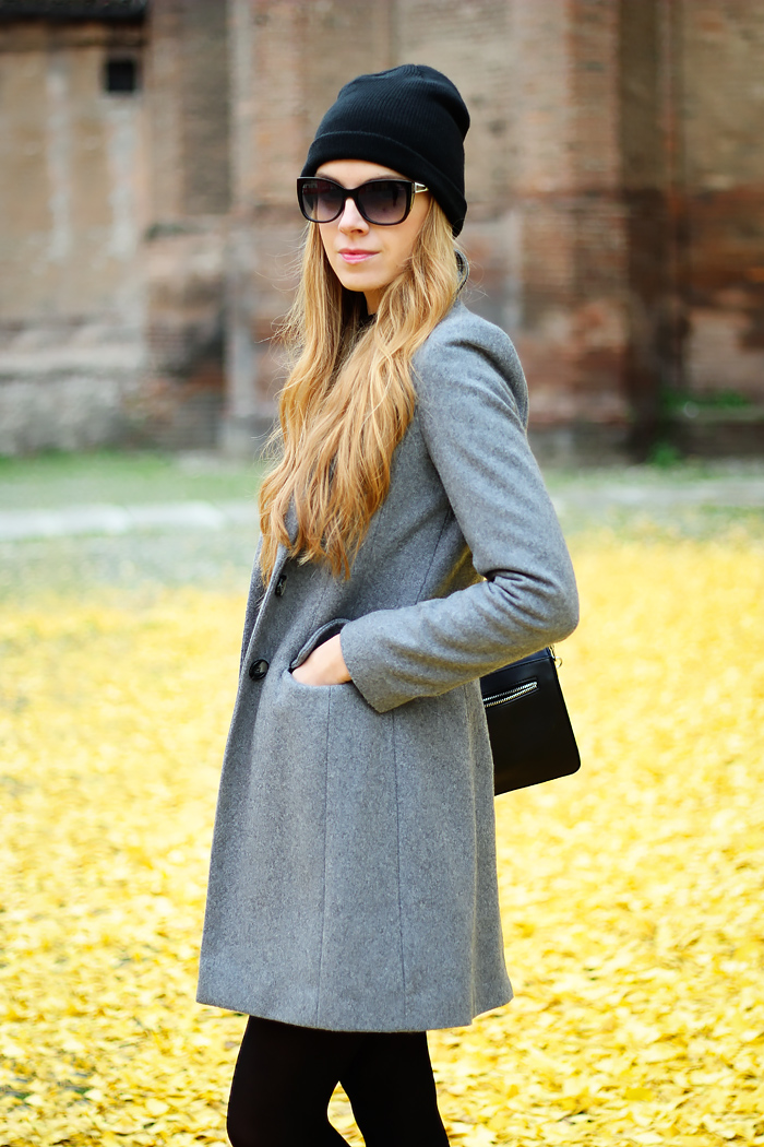asos coat, leather skirt, beanie, zara bag, fall outfit, fashion