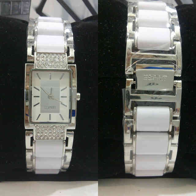 Jam Tangan Esprit Square Diamond Ceramic