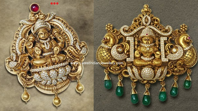 Diamond Nakshi Lakshmi Pendants