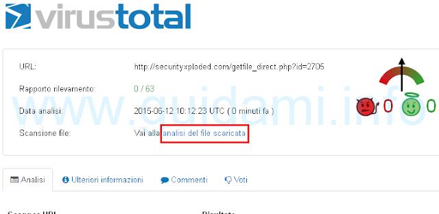 VirusTotal analisi del file scaricato