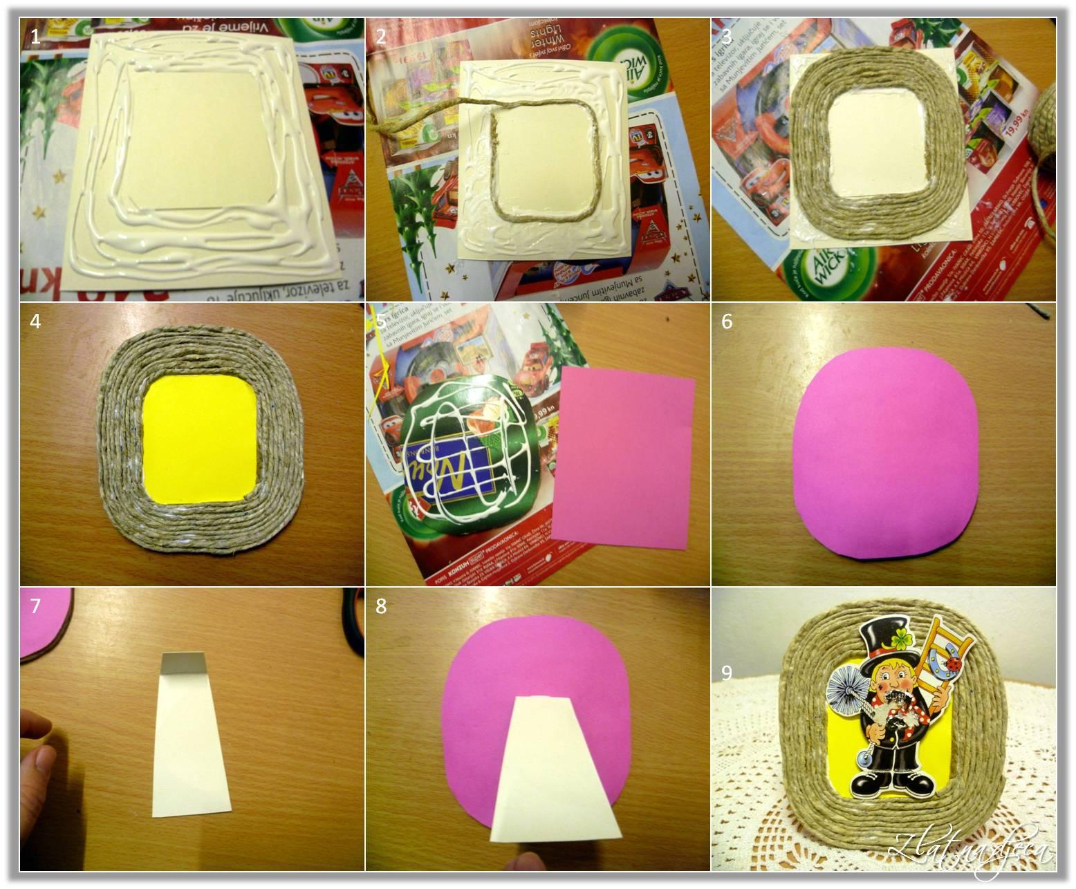 Zlatna djeca: Okvir za slike od špage i kartona