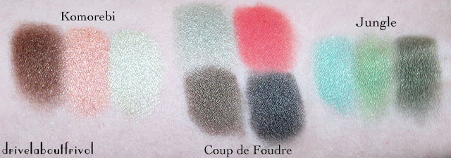 Guerlain Coup de Foudre swatch comparison with Suqqu Komorebi and Shiseido Jungle