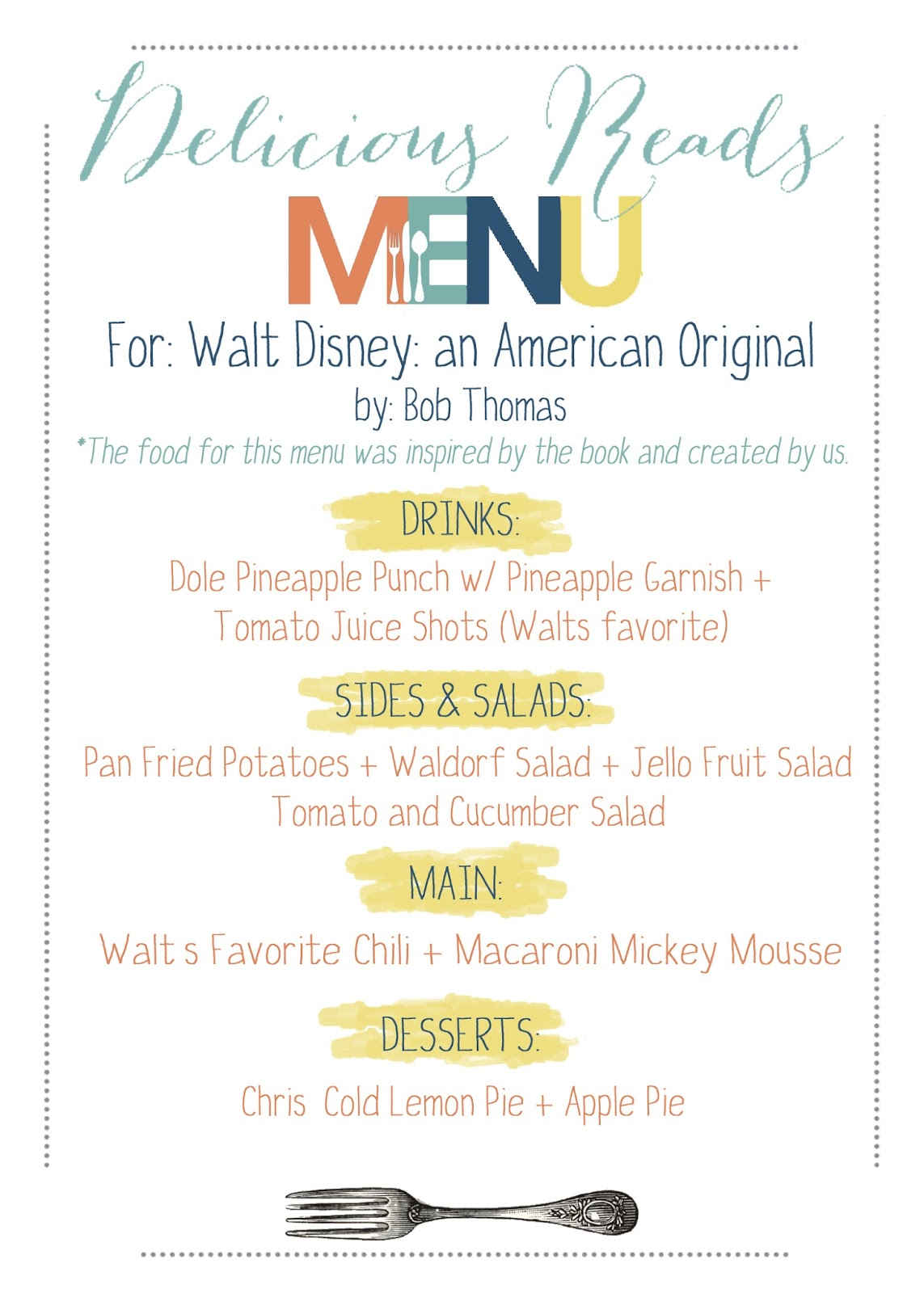 Menu for Walt Disney book club