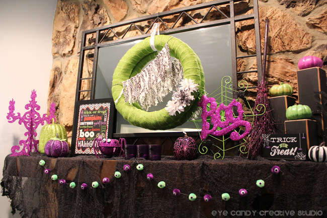 halloween mantel decor, purple & green halloween decor, glam halloween