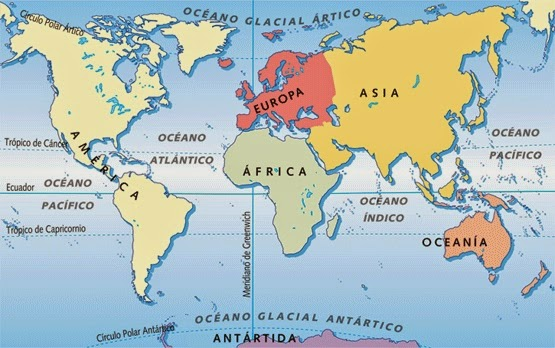 Los continentes y los océanos
