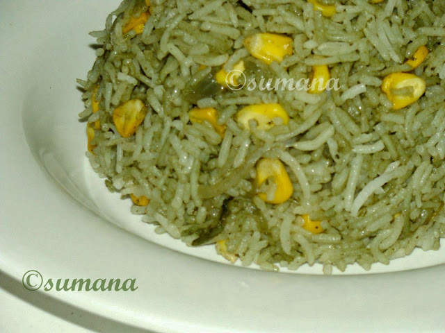 how to cook corn mint rice at home, easy recipe to cook corn mint rice, mint flavoured corn rice
