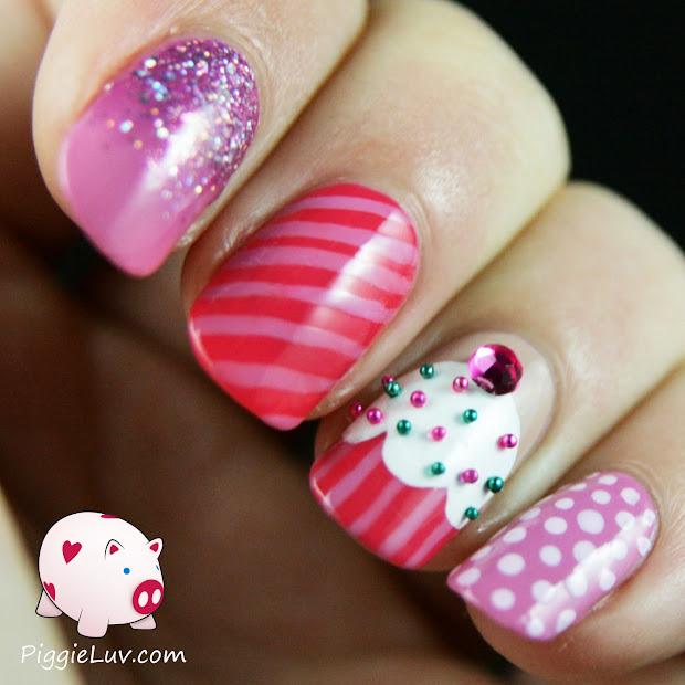 piggieluv cupcake nail art