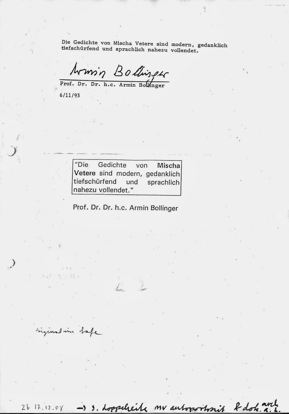 AB archiv zentralbibliothek zürich briefe mischa vetere und UNter bürgerlichem namen UNterschlagung