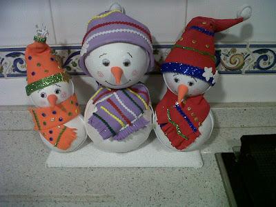 Fofuchas muñeco nieve. Navidad