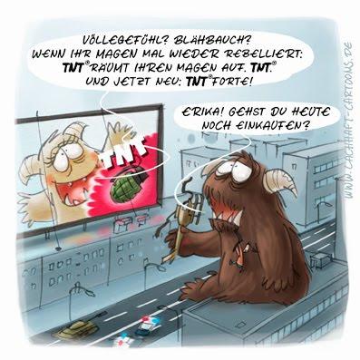 LACHHAFT Cartoon TNT Sprengstoff Bombe Handgranate Magenprobleme Völlegefühl Blähungen Monster Essen Fressen Großstadt einkaufen Cartoons Witze witzig witzige lustige Bildwitze Bilderwitze Comic Zeichnungen lustig Karikatur Karikaturen Illustrationen Michael Mantel Spaß Humor