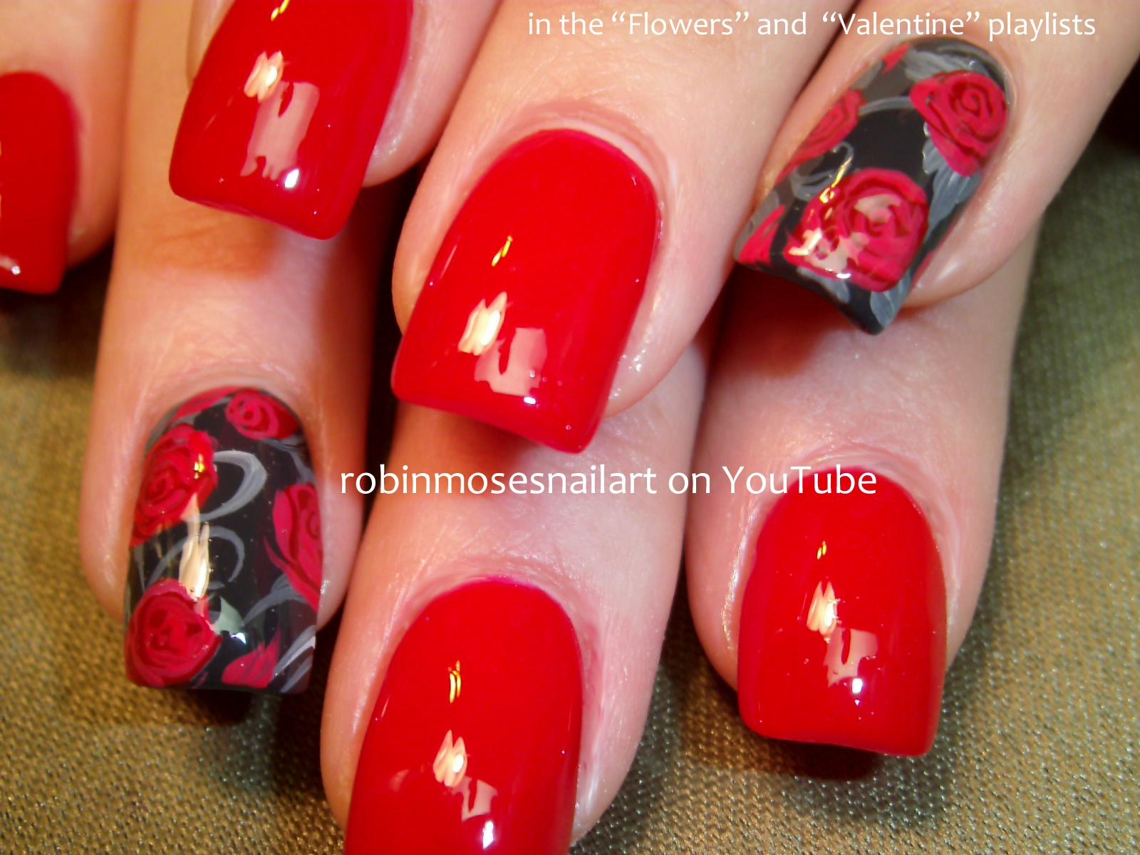 Nail Art Design: red rose valentine nails, red rose nails, red rose ...