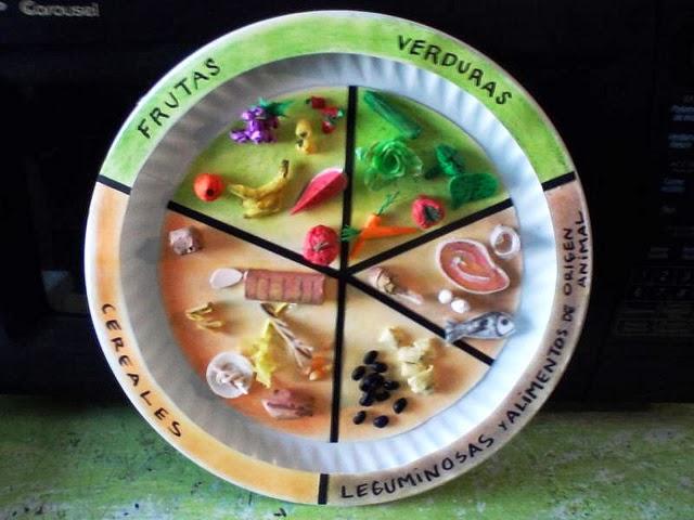 de los distintos alimentos, o crearlos con plastilina de colores
