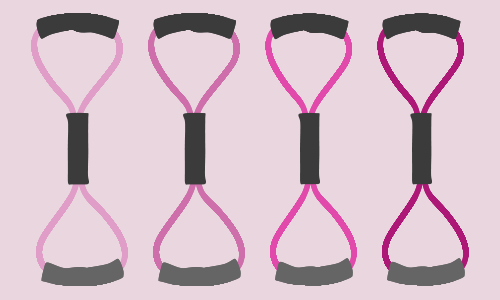 Resistance band exercises with pink bands.