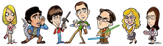 The Big Bang Theory cast caricature. por Durkinworks