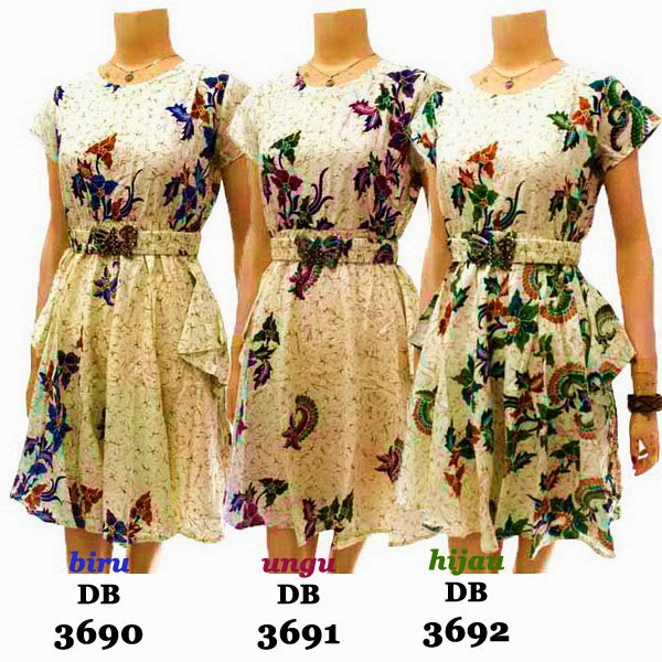 DB3690-3692 Model Baju Dress Batik Modern Terbaru 2014