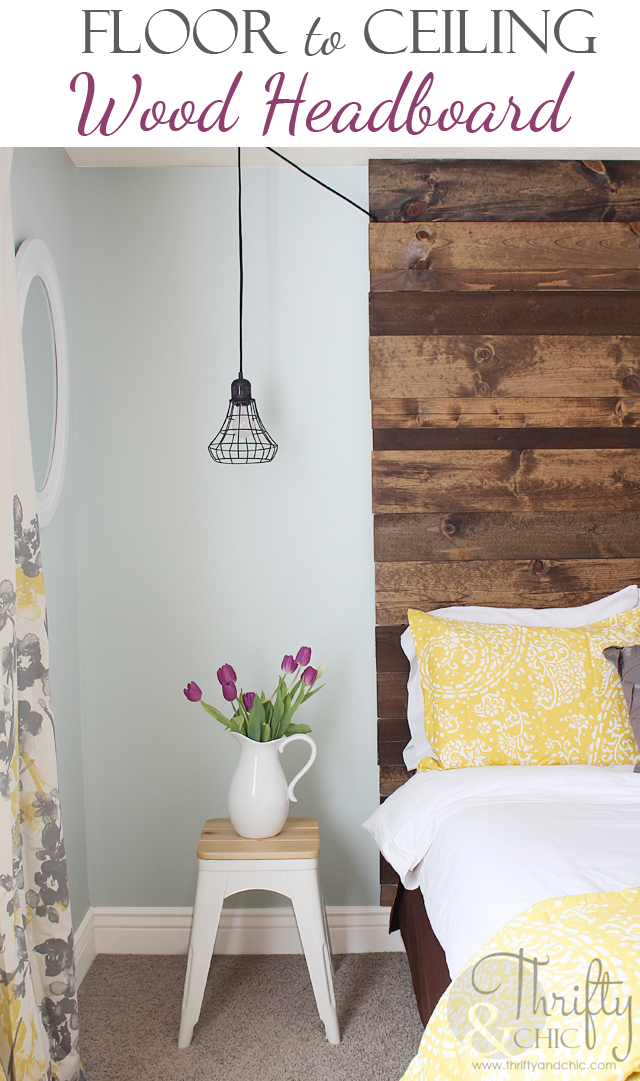 DIY floor to ceiling wood headboard tutorial