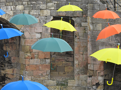 Umbrellas in Clifford's Tower, York