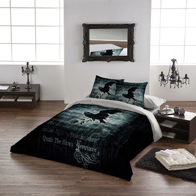 raven bedroom set. Alchemy Gothic are also responsible for this Edgar Allan Poe themed bedding  set Nevermore Goth Shopaholic s Hauntingly Beautiful Bedroom Sets