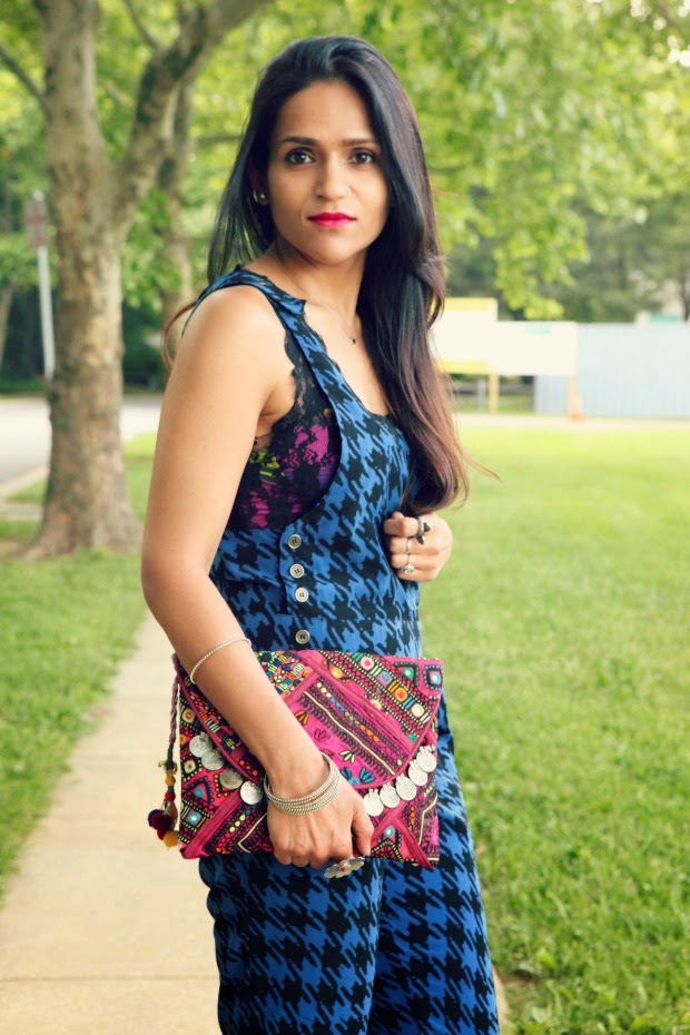 Jumpsuit - Nordstrom, Clutch - India, Shoes - Steve Madden, Tanvii.com