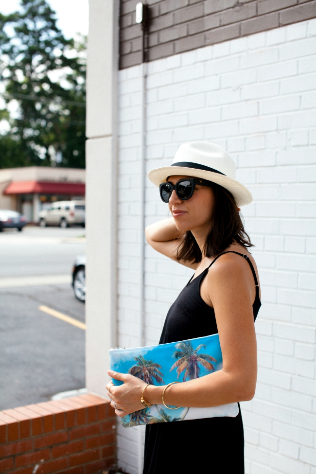 panama hat, woodzee sunglasses, Lush maxi dress, Summer Style Series, Black maxi dress