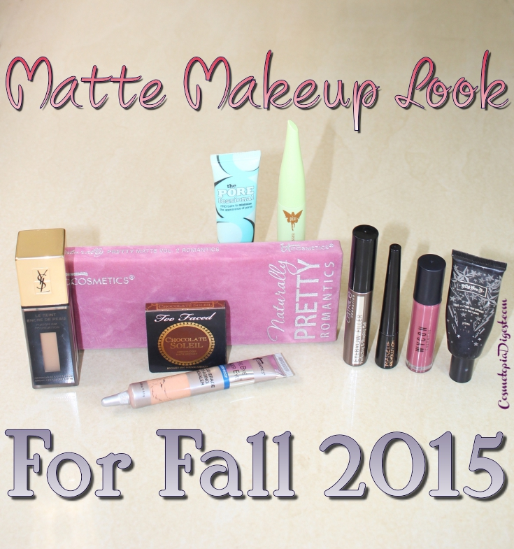 Here is a matte makeup look for Fall 2015, with purple eyeshadow from the IT Cosmetics Romantics palette.