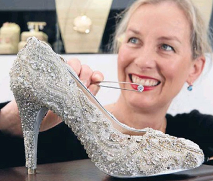 cinderella-style diamond studded shoe worth $500000