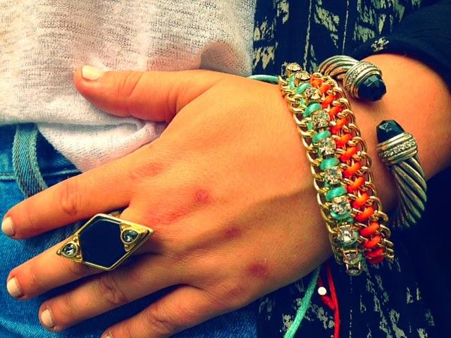 David Yurman black onyx large bangle, stacking jewelry, best fashion blogger jewelry, Lia Sophia black and gold ring