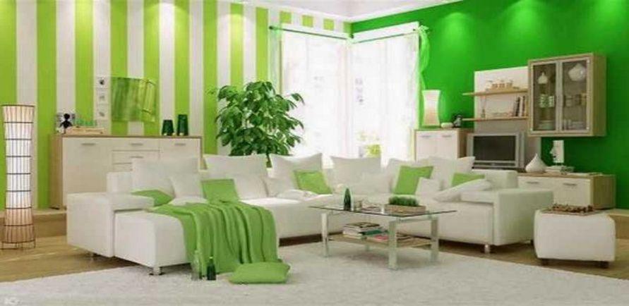 ide cat dinding hijau ruang keluarga idaman