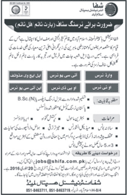 Nurses Jobs in Shifa International Hospital Islamabad