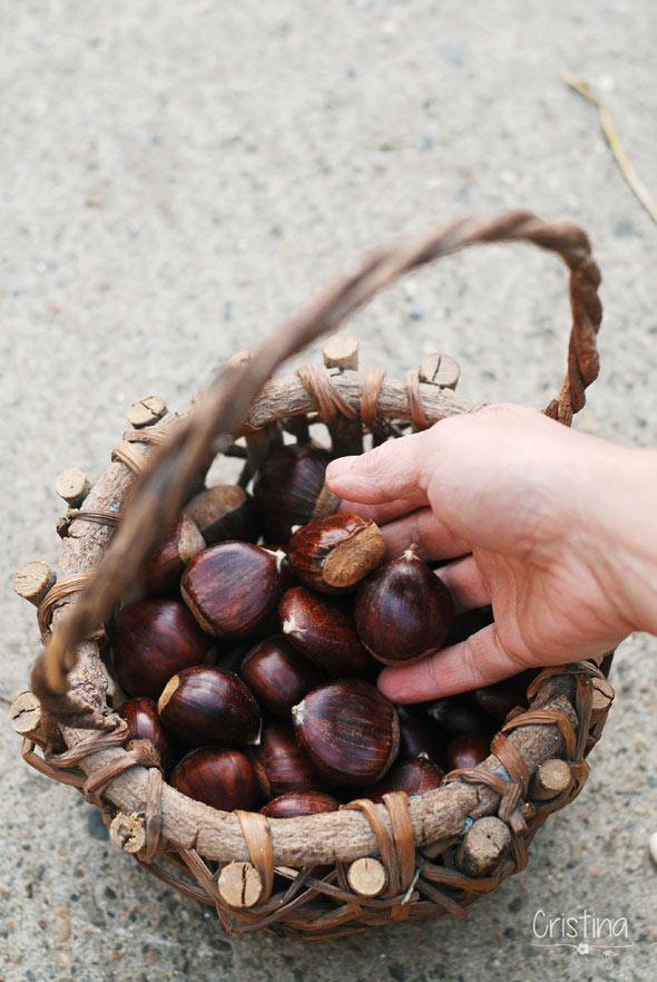 cesta de castañas