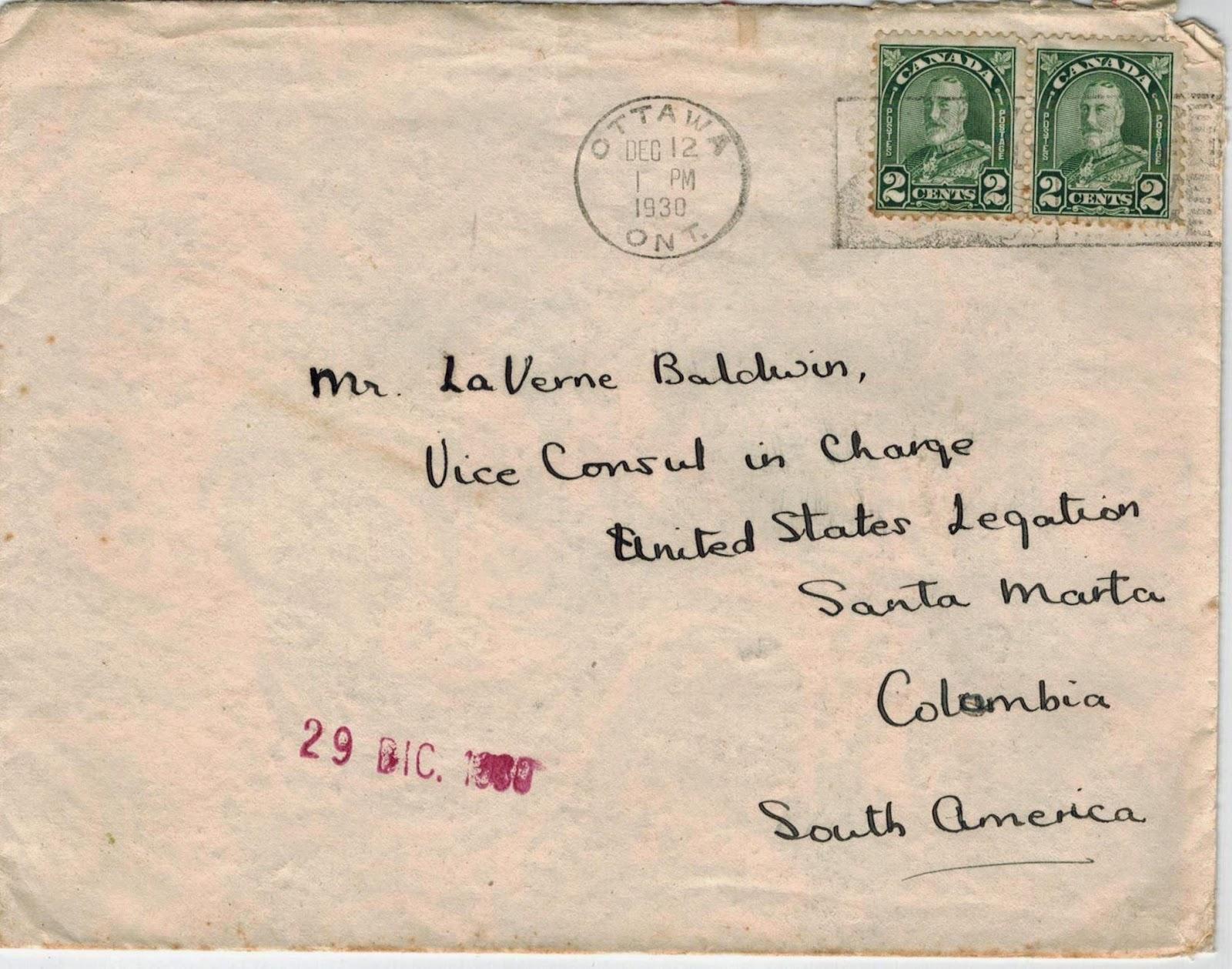 Postal history corner 9 reduced international letter rates ottawa to santa marta colombia december 12 1930 spiritdancerdesigns Gallery