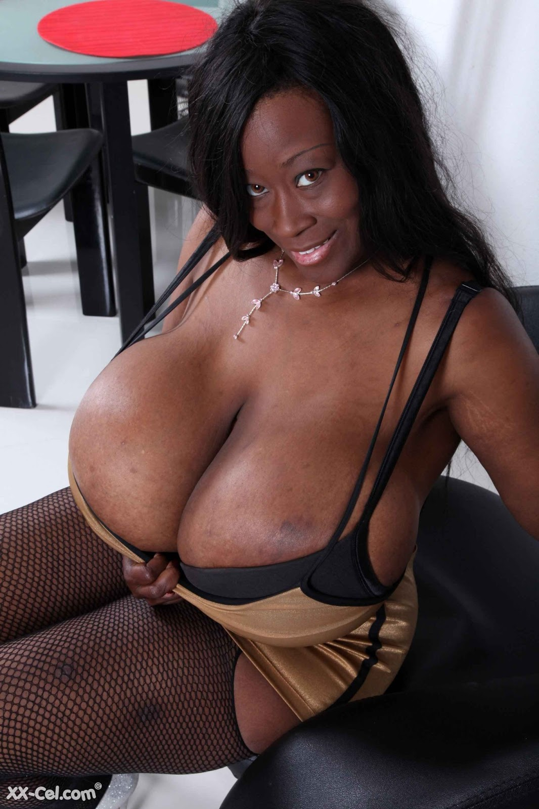 ebony fake tits
