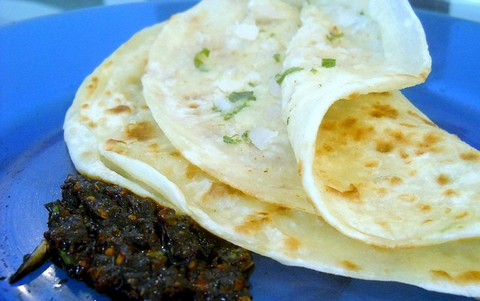 Potato Stuffed Tortillas with Coriander and Pickle