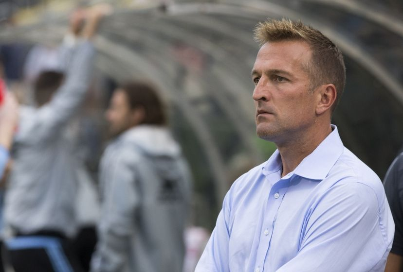 Aug 19, 2015; Columbus, OH, USA; New York City FC head coach Jason Kreis watches as his team takes the field for a game against Columbus Crew SC at MAPFRE Stadium. Mandatory Credit: Greg Bartram-USA TODAY Sports