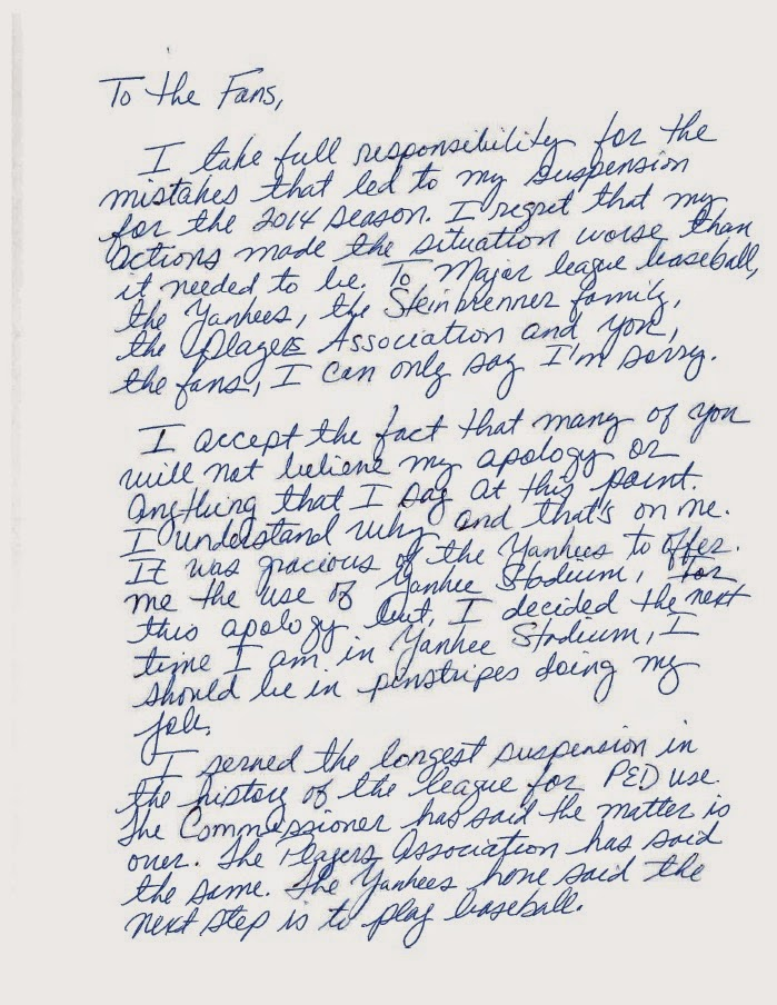 LADY AT THE BAT The ARod Apology Letter The End Of A Sad Sordid