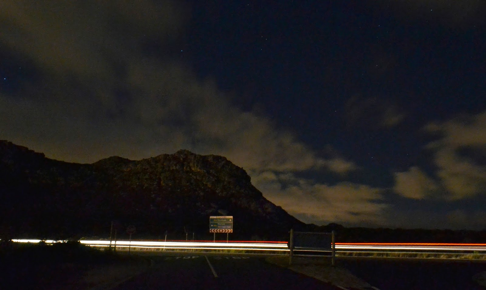 View of mountains from Ou Kaapse Weg at night
