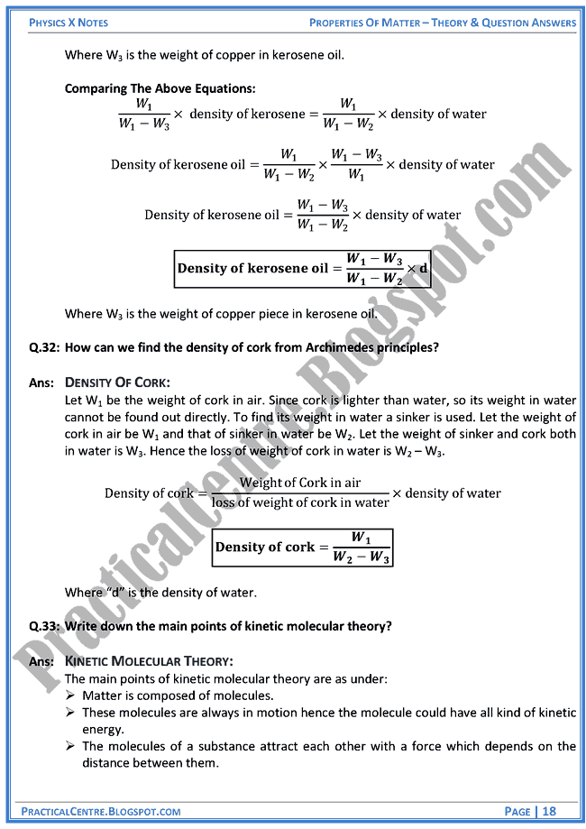Properties Of Mater - Theory & Question Answers - Physics X