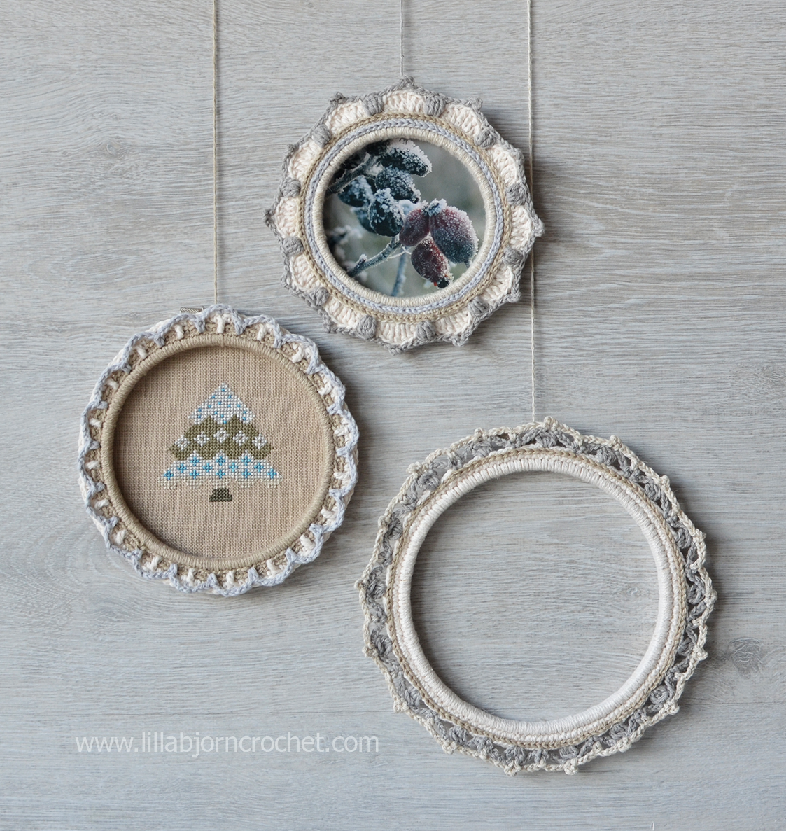 how to turn embroidery hoops into photo frames with crochet tutorial by lilla bjorn crochet - Embroidery Frames