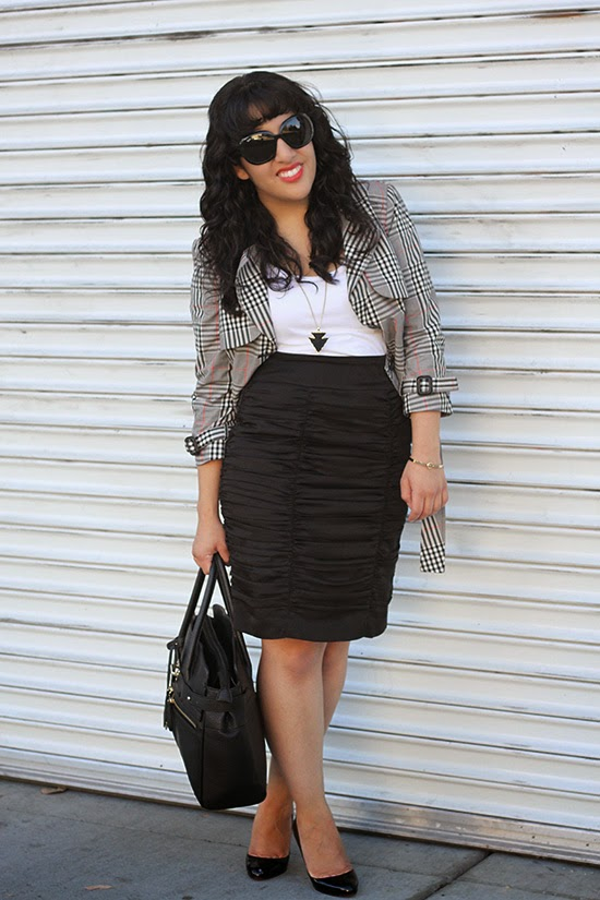 Plaid Jacket and Pencil Skirt